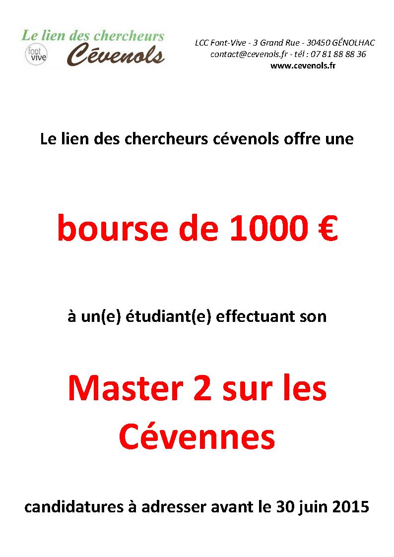bourse etudiant master 2